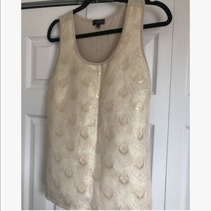Mixed media metallic gold embroidered top
